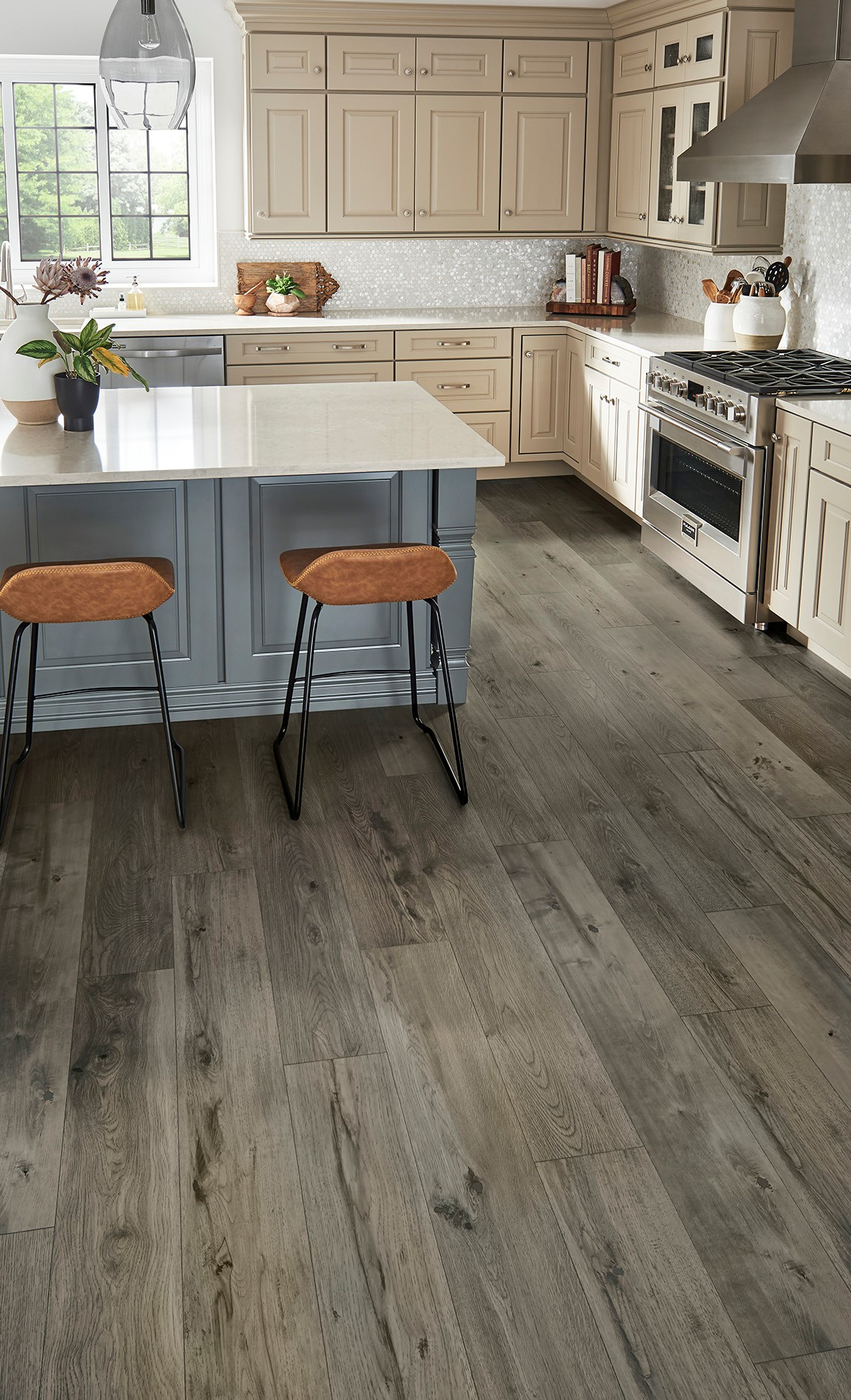 dark hardwood floor in light colored kitchen