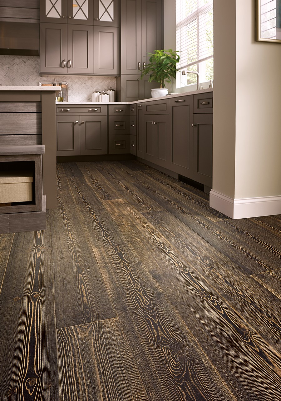 dark waterproof hardwood floor in dark colored kitchen