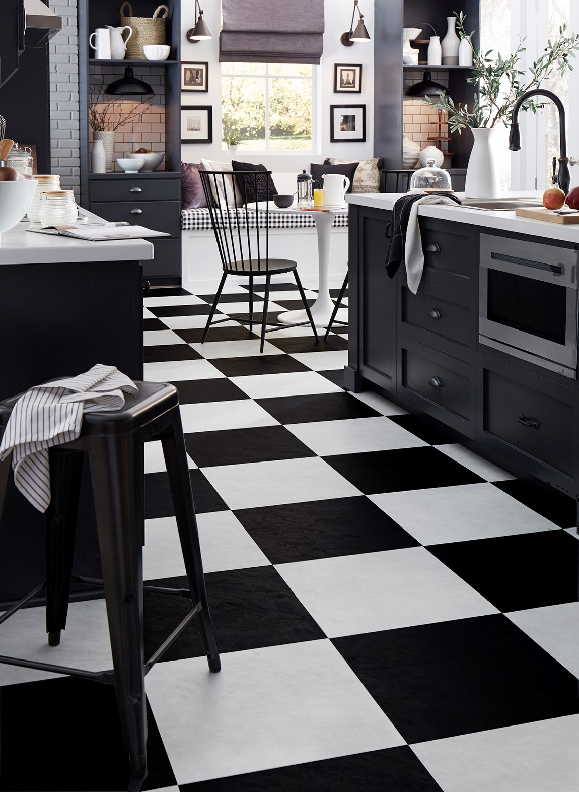 kitchen with black and white retro tiles